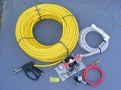 "All-Flo two Tank yellow 1/2"" ag hose 200',200' of 1/2"" Yellow Ag Hose, 3-Way Ball Valve to Pull from Two Tanks & Chlorine Gun"